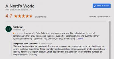 Fight fake google feedback