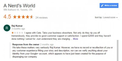 Positive Google Reviews for A Nerd's World