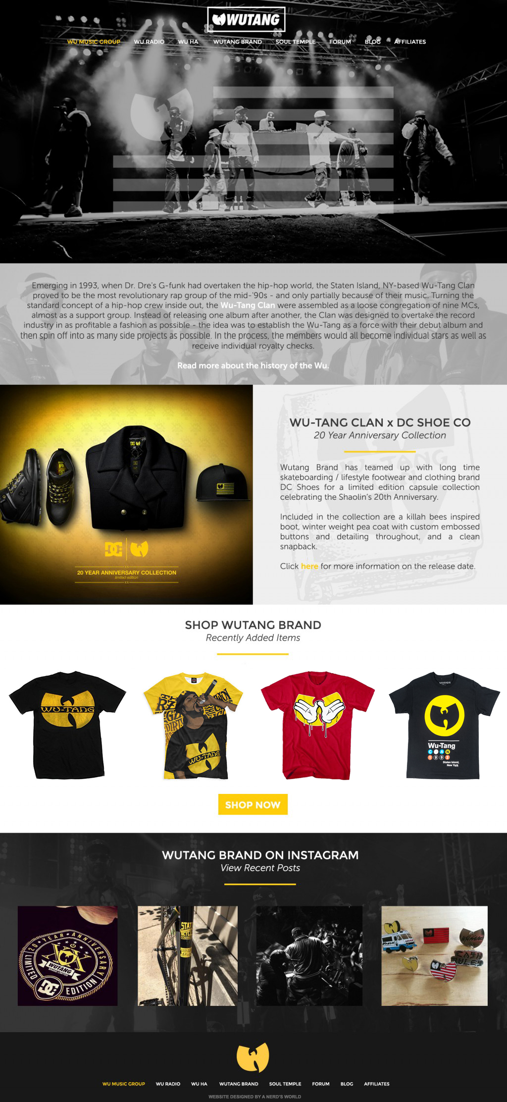 Wu Tang Clan Website Design